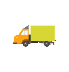 cartoon yellow delivery truck icon isolated on vector image