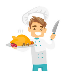 Caucasian white chief cook holding roasted chicken vector