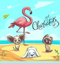 characters set flamingo puppy kitten vector image