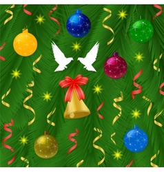Christmas ball with pine tree and bells vector image