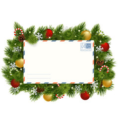 christmas fir branches with postcard vector image
