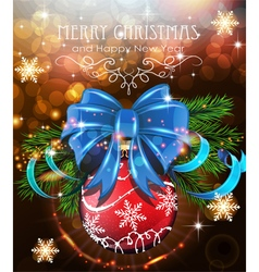 Christmas tree branches with blue bow and red vector image