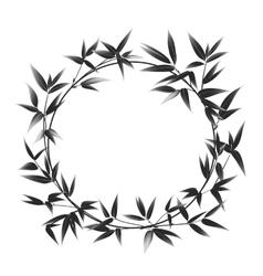 Circle frame of bamboo vector image