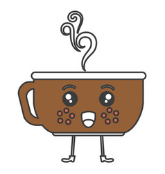 Coffee cup hot kawaii character vector