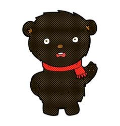 comic cartoon black bear wearing scarf vector image