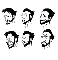 Contour drawings emotions a bearded man vector