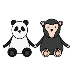 cute bear panda and monkey characters vector image