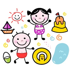 Cute summer doodle kids set isolated on white vector image vector image