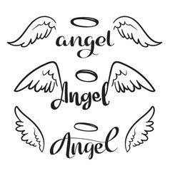doodle flying angel wings with halo sketch vector image