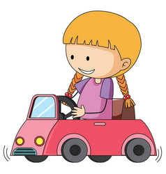 Doodle girl riding toy car vector