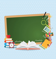 education design background with open book vector image