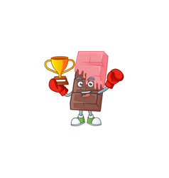 Fantastic boxing winner chocolate bar pink cream vector
