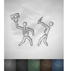 Fight icon Hand drawn vector