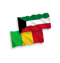 Flags mali and kuwait on a white background vector