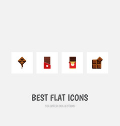 flat icon sweet set of chocolate chocolate bar vector image
