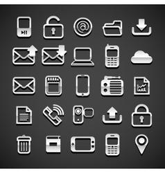 Flat metallic universal icons vector