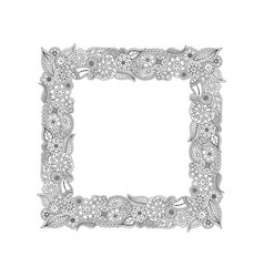 frame of floral doodle elements coloring page vector image vector image