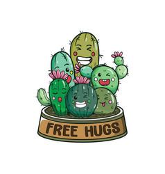 free hugs cactus plants vector image