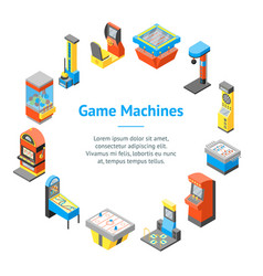 game machine 3d banner card circle isometric view vector image