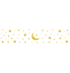 golden crescent and star symbol on white vector image