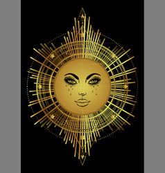 Golden sun with sacred geometry in gold tattoo vector