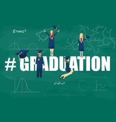 graduation students flat style symbols vector image