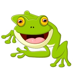 Happy cartoon frog vector