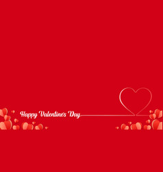 happy valentines day line lettering with red heart vector image