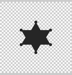 hexagram sheriff icon on transparent background vector image