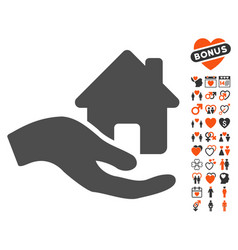 home offer hand icon with love bonus vector image