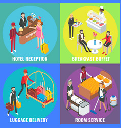 Hotel service concept flat isometric poster vector