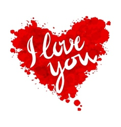 I love you heart red background painted with vector
