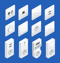 Isometric switches and sockets set ac power vector