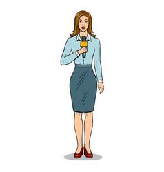 Journalist with microphone pop art vector