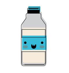 Kawaii milk bottle in watercolor silhouette vector