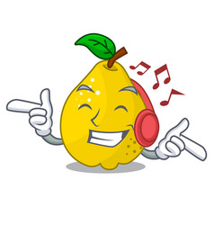 Listening music ripe yellow quince fruit on mascot vector
