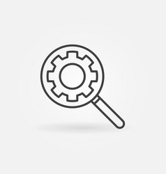 magnifier with gear concept icon in outline vector image