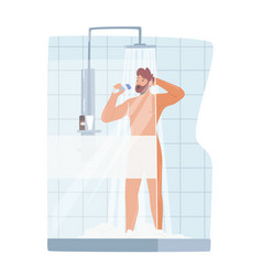Man singing in shower naked happy character vector