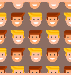 men head portrait seamless pattern friendship vector image