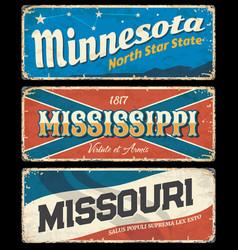 mississippi minnesota and missouri vintage signs vector image