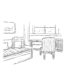 Modern interior room sketch hand drawn workplace vector image
