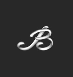 Monogram letter b logo three-dimensional metallic vector