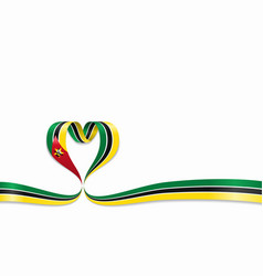Mozambique flag heart-shaped ribbon vector