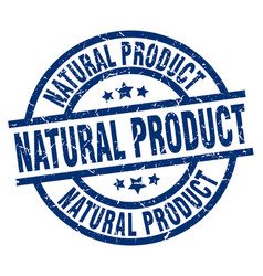 Natural product blue round grunge stamp vector