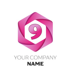 number nine logo in the colorful hexagonal vector image