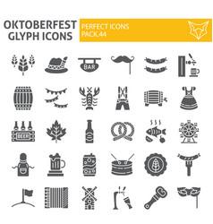 oktoberfest glyph icon set bavarian holiday vector image