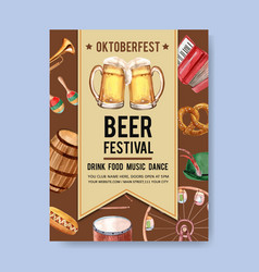 Oktoberfest poster with accordion trumpet vector