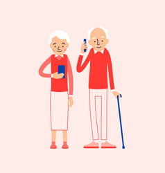 old people with phone elderly persons man and vector image
