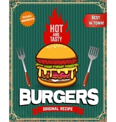 Old style poster with burger food vintage poster vector