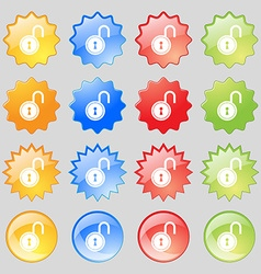 Open lock icon sign big set of 16 colorful modern vector